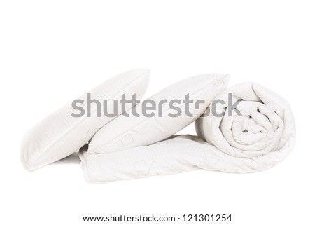 two pillows and duvet  isolated on white