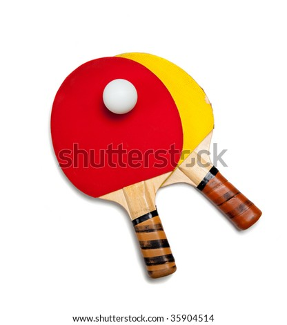 Two ping pong or table tennis paddles with a ball on a white background