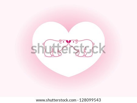 Two Pink Arctic Polar Bears with Black Noses Kissing in Heart Graphic Background - Raster