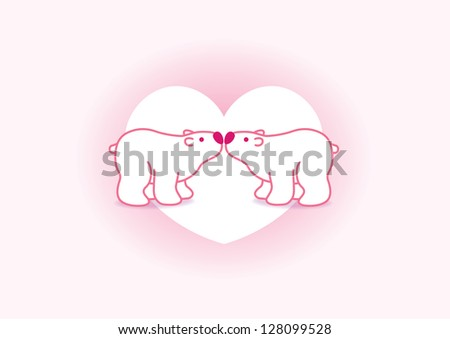 Two Pink Arctic Polar Bears with Pink Noses Kissing in Heart Graphic Background - Raster