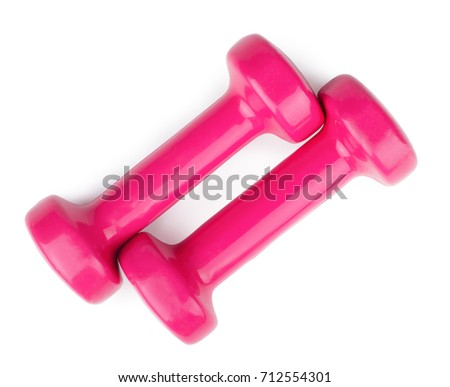 Two pink dumbbells isolated on white background. Top view