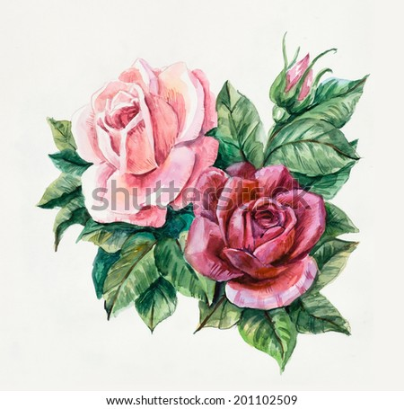 Two pink roses Pattern from rose Wedding drawings Water color painting Greeting cards Rose background watercolor composition Flower backdrop