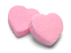 Two Pink Valentines Candy Hearts Isolated on White.