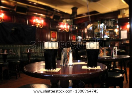 Two  pints cold beer  in pub