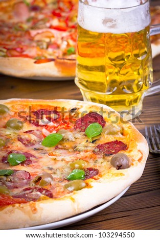 Two pizza and beer