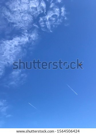 Two planes fly in opposite directions, a bird flies, A bird flies in the sky
