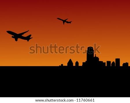 two planes leaving Dallas at sunset illustration JPG