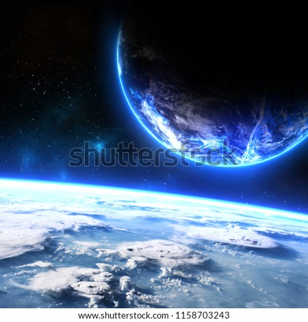 Two planets orbiting each other. Science fiction image of planets with glow and athmosphere in deep space wtih view from the orbit. Elements of this image furnished by NASA