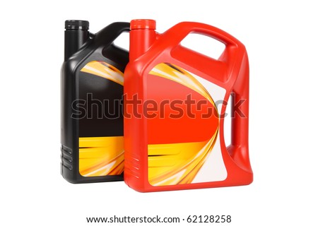 two plastic bottle of engine oil on white background