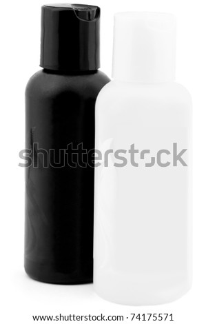 two plastic bottles isolated on white