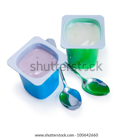 Shutterstock Comtwo Plastic Cups With Yogurt And Spoon On White Background Stock