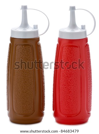 Two plastic sauce bottles brown and red on white background.