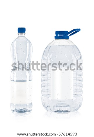 two plastic water bottle isolated