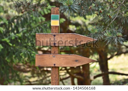 two pointers, arrows point the direction in the forest, in the background blurred trees #1434506168