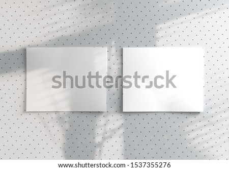 Two polaroids mockup with shadow on modern stylish pattern background. 3D render.