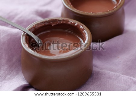 Two portions of chocolate cream
