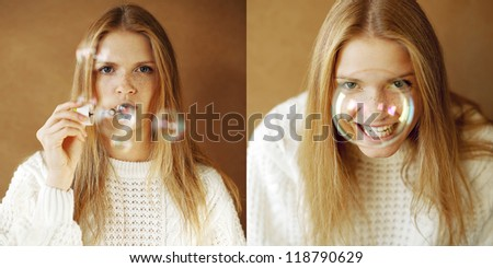 Two portraits of a funny and lovely fashionable girl with ginger hair: girl blowing soap bubbles and girl laughing behind a big soap bubble over wooden background. Daylight. Studio shot