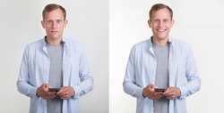 Two portraits of a young man in an unbuttoned shirt with a smartphone in his hands. Concept is good or bad. Opposite emotions, sad and cheerful, happy and unhappy.
