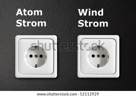 two power outlets shonwing green or ecology energy concept