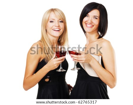 Two pretty cheerful women with glasses of wine, white bzckground