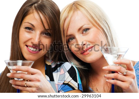 Two pretty friends celebrating, isolated - stock photo