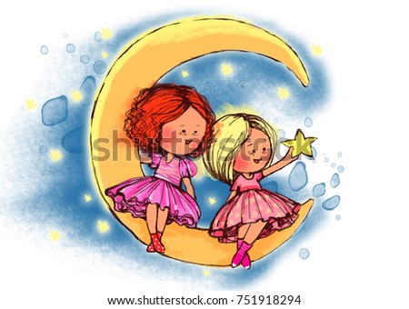 Stock Photo Two pretty girls sitting on the moon and looking on star, graphic illustration. Hand drawing illustration.