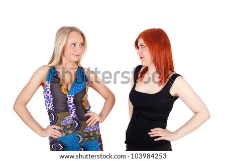 two pretty young girls speaking