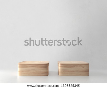 Two Product stand, Wooden Texture. 3D Rendering