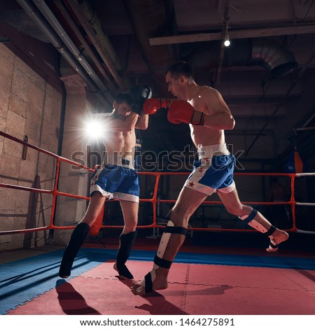 Two professional sportsmen boxers training kickboxing in the ring at the sport club