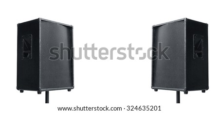 Two public outdoor speakers isolated on white background. Side by side with copy space,concert or public speech concept. #324635201