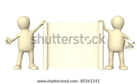 Two puppets with information scroll in a hand. Isolated over white