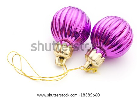 two purple Christmas decorations on white
