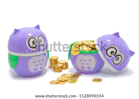 Two purple owls The left body turns to the right. The right one wears a gold coin, which is two baht coins in Thailand. The meaning of the picture is Owls show knowledge That leads to generating reven