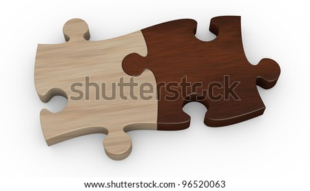 two puzzle pieces in different color. the pieces are joined together (3d render)