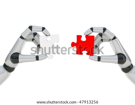 Two puzzles in two hands of robot on white background