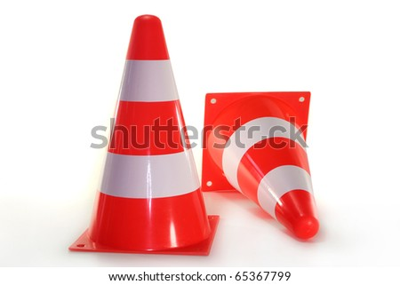 two pylons in front of white background