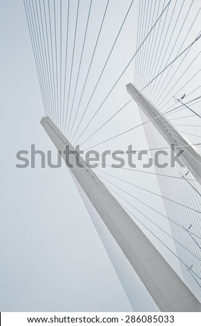 Two pylons of a bridge with supporting cables going down in a line pattern