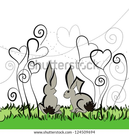Two rabbits sitting under the flowers. Raster version of the vector image