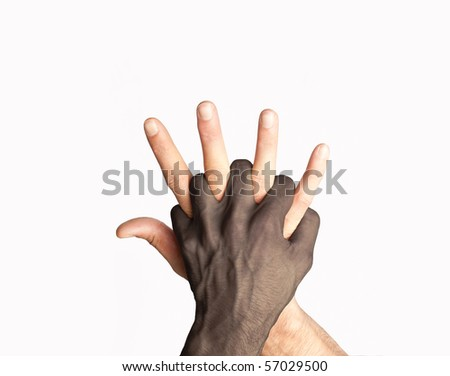 Two races hands mix