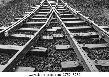 stock photo two railway tracks merge 375748789 - Каталог - 3d фотообои