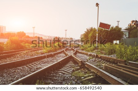 two railways tracks merge close ...