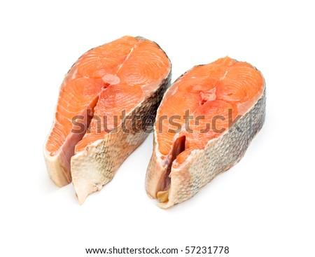 two raw salmon steaks