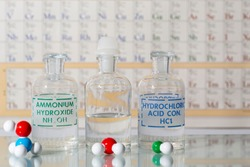 Two reagent bottles containing hydrochloric acid, ammonium hydroxide, water and their molecular models.
