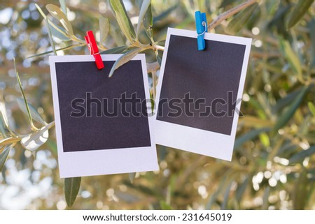 Two real blank instant photo hanging on clothesline.