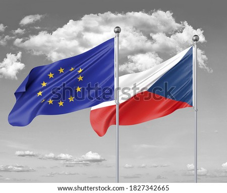 Two realistic flags. European Union vs Czech Republic. Thick colored silky flags of European Union and Czech Republic. 3D illustration on sky background. - Illustration Foto stock ©