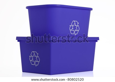 Two recycling blue bins isolated on white background.
