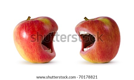 two red angry apple with mouth