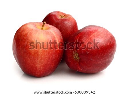 Two red apple fruits isolated on white background