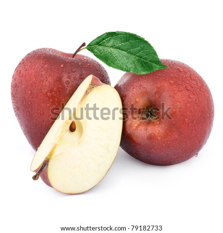 Two red apples and half. Isolated on a white background.