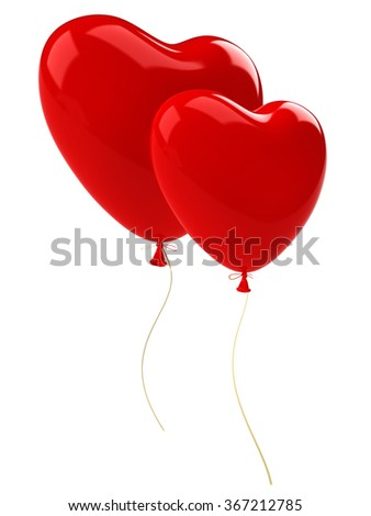Stock Photo Two red balloon hearts  with gold ribbon. Isolated on white background